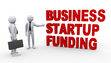 funding: 3d Illustration of man offering businessman startup financial funding for business  3d rendering of people - human character  Stock Photo