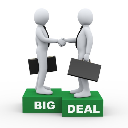 sales meeting: 3d Illustration of businessman shaking hands with his business partner after big deal agreement  3d rendering of human businessman character