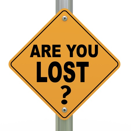 disoriented: 3d illustration of yellow roadsign of question are you lost
