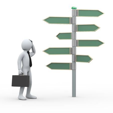 3d illustration of man in doubt standing in front of blank sign post   3d rendering of human people character  illustration