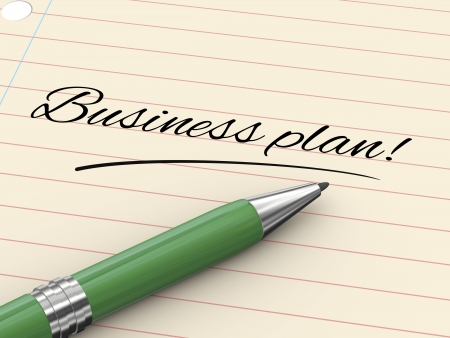 3d render of pen on paper written business plan Stock Photo - 21697469