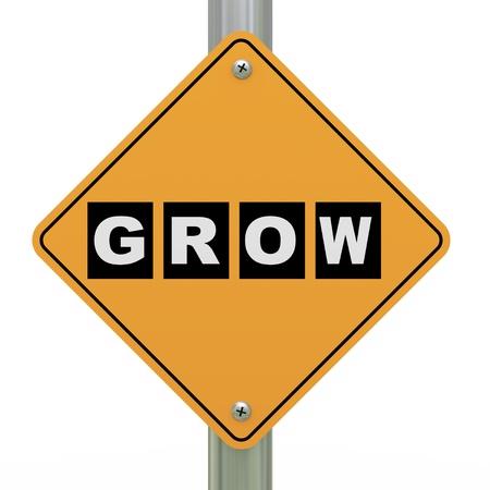 3d illustration of yellow roadsign of grow Stock Illustration - 21697466
