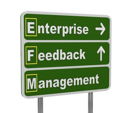 acronym: 3d illustration of green roadsign of acronym efm - enterprise feedback management
