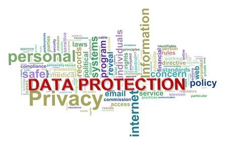 Illustration of word tags wordclod of concept of data protection