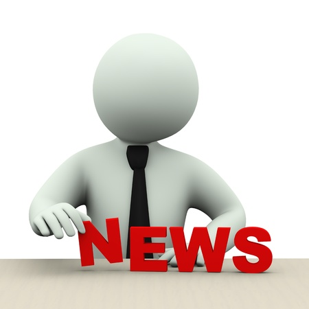 news update: 3d illustration of business person placing word news  3d rendering of human people character  Stock Photo