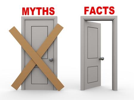 3d afbeelding van een close deur van mythen en open deur van feiten