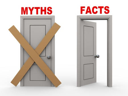 deceive: 3d illustration of close door of myths and open door of facts