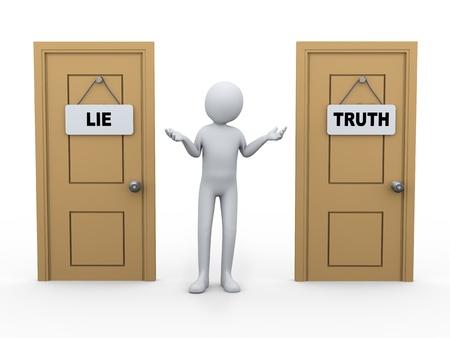 3D-afbeelding van de man tussen twee deuren met leugen en waarheid bord 3D-weergave van de menselijke mensen karakter