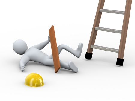 accident at work: 3d illustration of construction worker fallen off ladder on the job  3d rendering of human person  - people character  Stock Photo