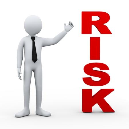 seguridad laboral: Ilustración 3D de hombre de negocios que presenta el concepto palabra riesgo de representación 3D de carácter humano personas