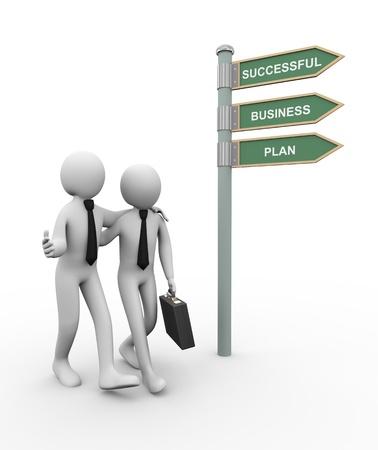 歩いて彼のビジネス パートナーとビジネスの成功計画道路標識人間ビジネスマン文字の 3 d レンダリングの方向に breifcase を持つ男の 3 d イラストレ