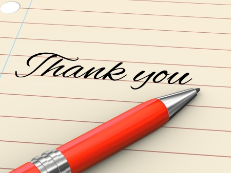give thanks: 3d render of pen on paper written thank you