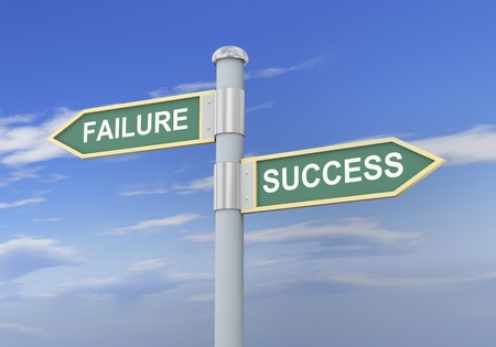 3d illustration of roadsign of words failure and success