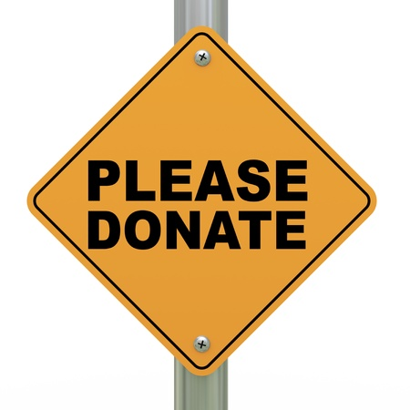 roadsigns: 3d illustration of yellow roadsign of please donate