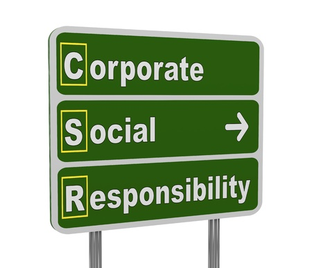 corporate responsibility: 3d illustration of green roadsign of acronym csr - corporate social responsibility