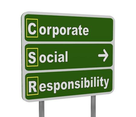 csr: 3d ilustraci�n de letrero verde del acr�nimo RSE - Responsabilidad Social Empresarial
