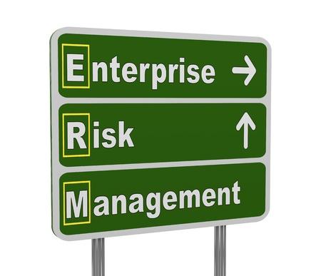 erm: 3d illustration of green roadsign of acronym erm - enterprise risk management