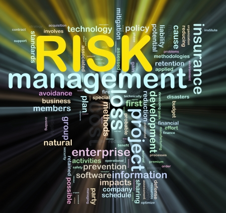 Illustratie van Worldcloud woord tags van het risicobeheer