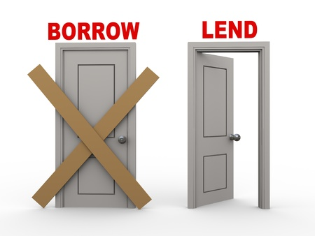 lend: 3d illustration of closed door of concept of borrow and open door having word lend.