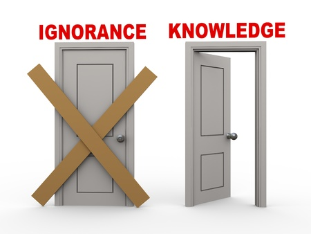 ignorance: 3d illustration of closed door of concept of ignorance and open door having word knowledge. Stock Photo