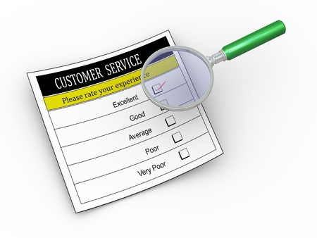 hover: 3d illustration of magnifying glass hover over customer service survey form with tick placed in excellent checkbox.