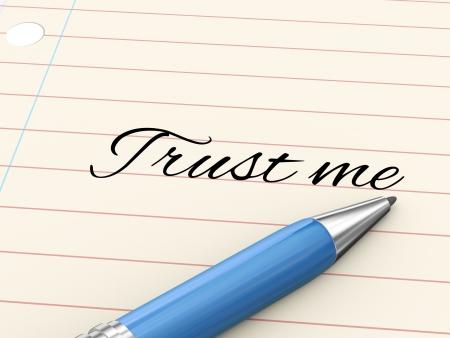 me: 3d render of pen on paper written trust me  Stock Photo
