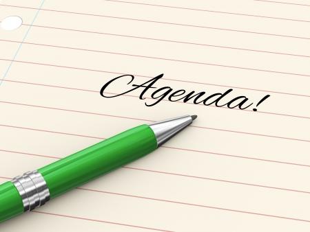 3d render of pen on paper written agenda Stock Photo - 21752048