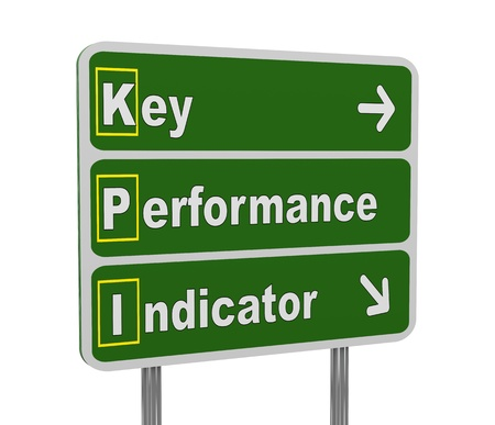 acronym: 3d illustration of green roadsign of acronym kpi - key performance indicator