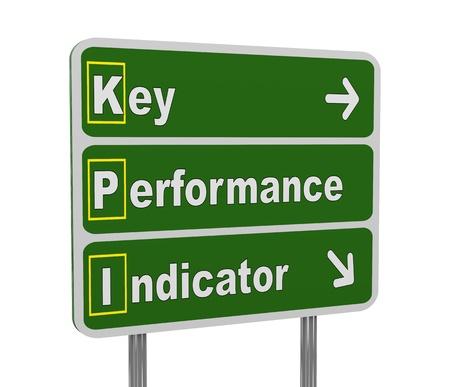 kpi: 3d illustration of green roadsign of acronym kpi - key performance indicator