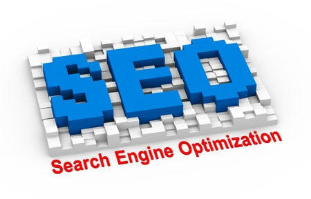 search engine optimized: 3d illustration abstract cubes pixel board design of concept of seo - search engine optimization.