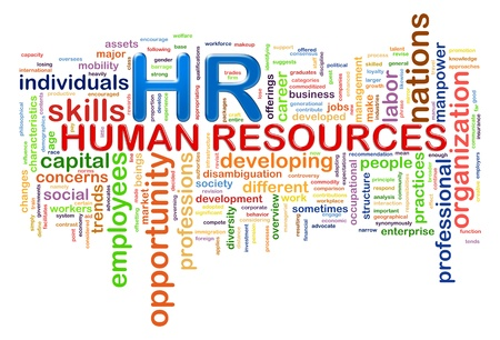 Illustration of wordcloud word tags of hr human resources illustration
