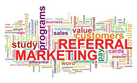 referral marketing: Illustration of referral marketing concept word tags wordcloud