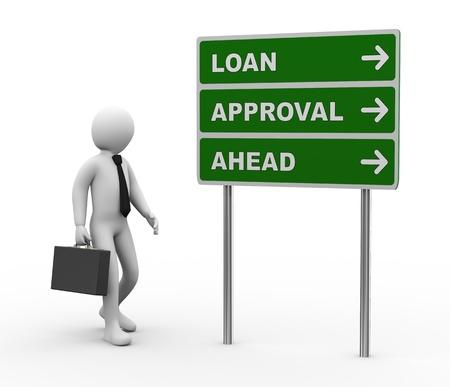 3d illustratie van de mens en de groene bord van de lening goedkeuring vooruit. 3D-weergave van de menselijke mensen karakter. Stockfoto