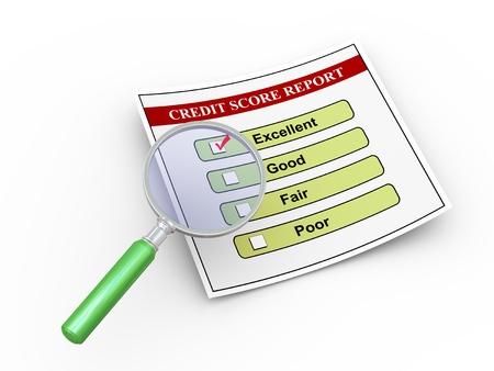 3d illustration de la loupe survolez bon rapport de pointage de crédit. Banque d'images