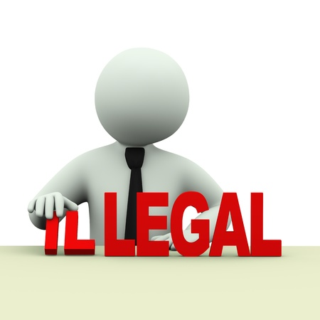 lawful: 3d illustration of business person changing word illegal to legal. 3d rendering of human people character. Stock Photo