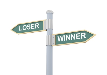 victorious: 3d illustration of roadsign of words loser and winner