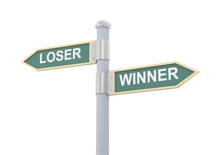 loser: 3d illustration of roadsign of words loser and winner