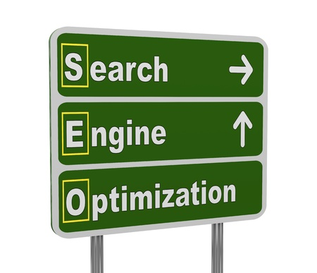 3d illustration of green roadsign of acronym seo - search engine optimization