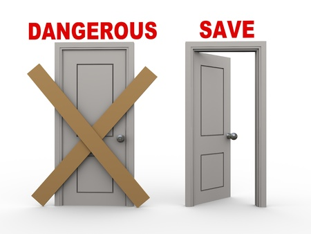 cautious: 3d illustration of closed door of concept of dangerous and open door having word save.