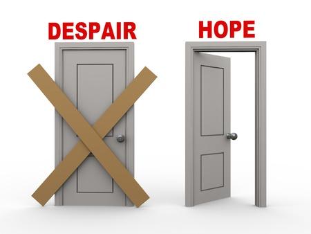 despair: 3d illustration of closed door of concept of despair and open door having word hope.