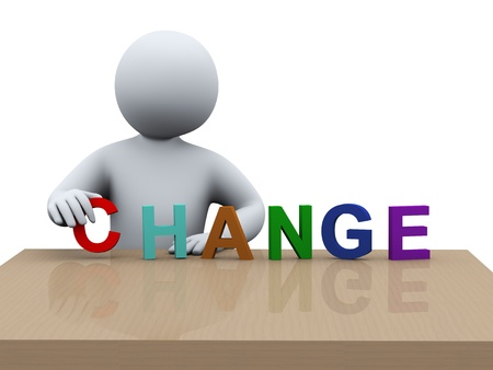 3D-afbeelding van degene die woord verandering 3D-weergave van de menselijke mensen karakter