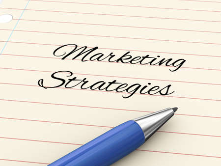 3d render of pen on paper written marketing strategies Stock Photo - 22275736