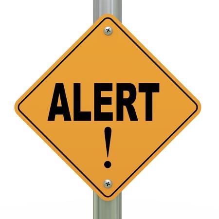 3d illustration of yellow roadsign of alert  illustration