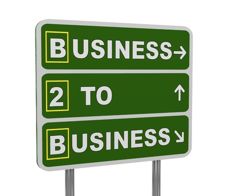 b2e: 3d illustration of green roadsign of acronym b2b - business to business