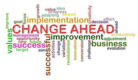 Illustration of wordcloud word tags of change ahead