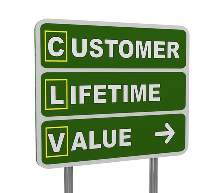 3d illustration of green roadsign of acronym clv  - customer lifetime value