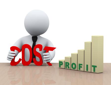 3d illustratie van de mens knijpen woord kosten voor het bedrijfsleven vooruitgang winst bars verhogen. 3D-weergave van de menselijke mensen karakter. Stockfoto