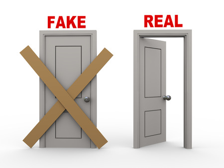 in fact: 3d illustration of closed door of concept of fake and open door having word real