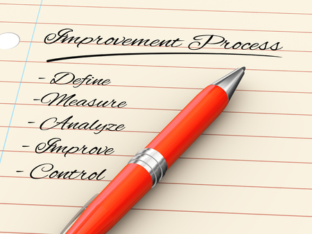 3d render of pen on paper written improvement process Stock Photo - 22275764