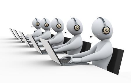 3D-afbeelding van mannen met een hoofdtelefoon bij een callcenter voor de klant hulp en ondersteuning. 3D-weergave van het menselijk mensen karakter.